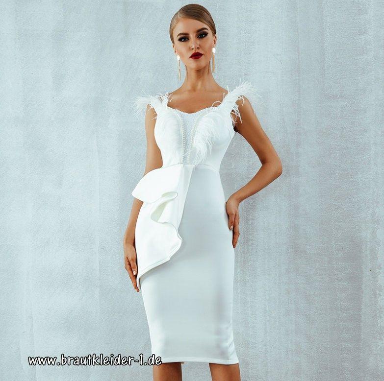 Bodycon Standesamt Kleid in Weiß Knielang mit ...