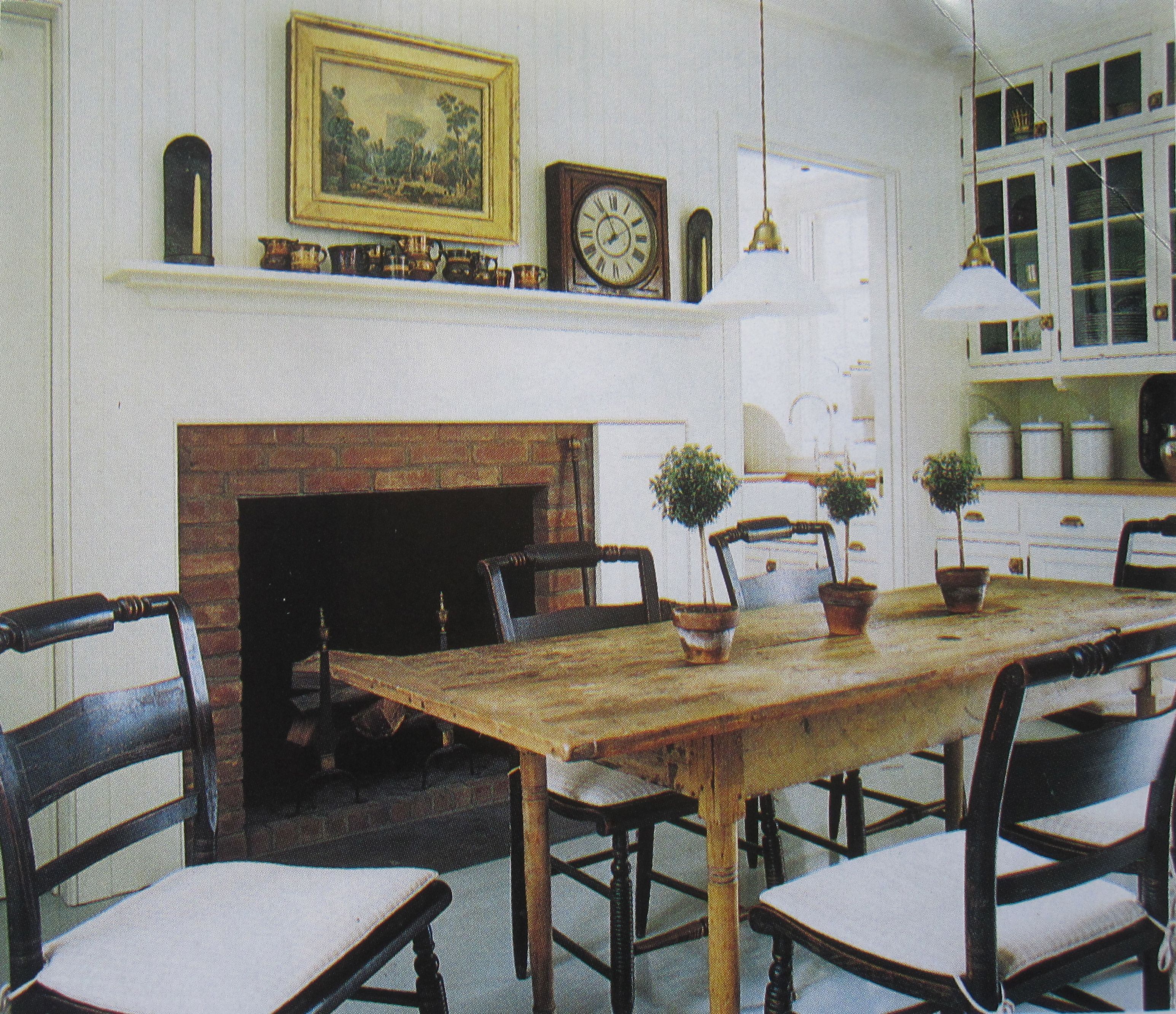 Dining Room Fireplace With Hitchcock Chairs Pine Table