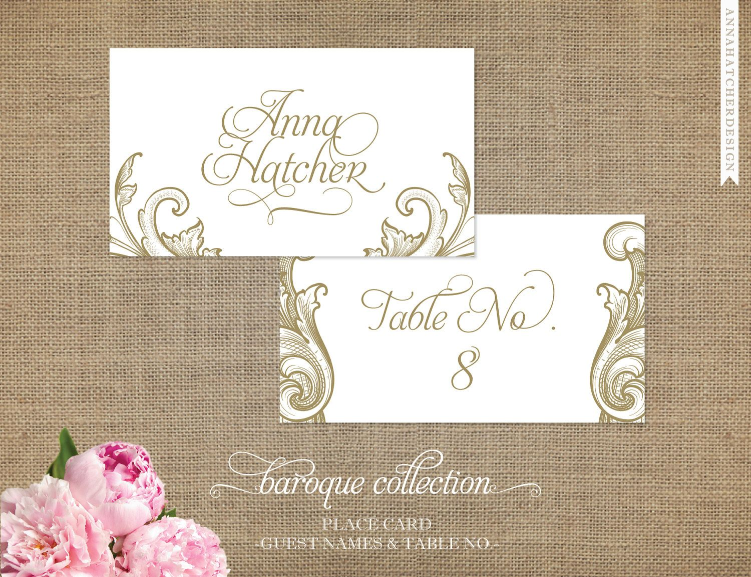 Vintage Place Cards/Escort Cards in Any Color/Font - 3.5x2 Flat or ...
