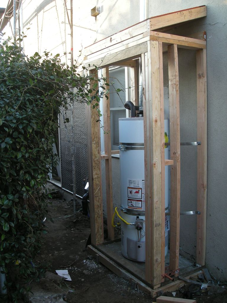 Water heater shed 1 19 08 water laundry and laundry rooms - Exterior hot water heater enclosure ...