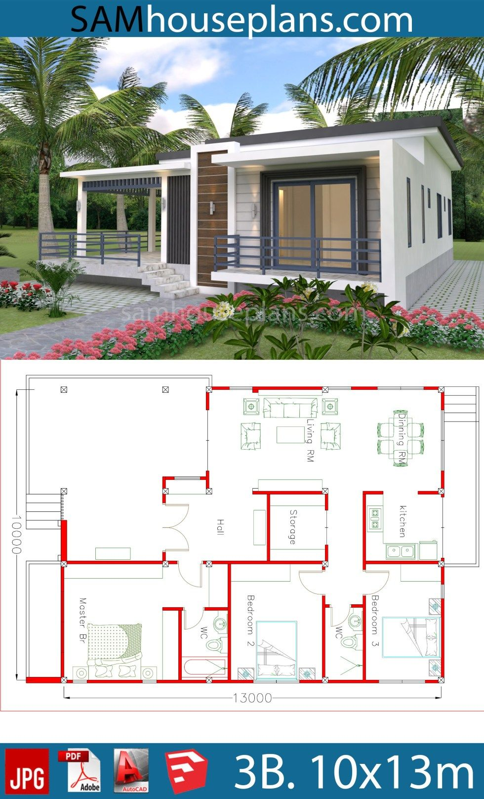 House Plans 10x13m With 3 Bedrooms Sam House Plans Affordable House Plans House Construction Plan Beautiful House Plans