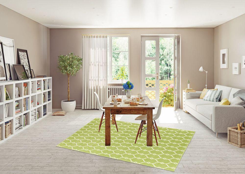 Len Für Hohe Decken 1400 vysoce odolný a pratelný koberec trellis 133x190 cm zelený