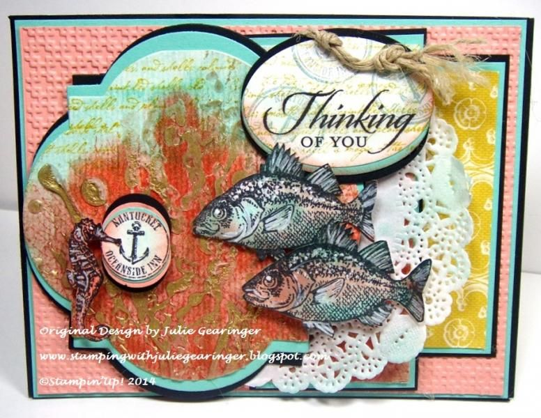SU FabFab42 Glue Art Seascape by Julie Gearinger - Cards and Paper Crafts at Splitcoaststampers