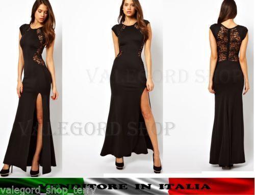 2614a91b1951 Abito-lungo-sera-sexy-elegante-pizzo-aderente-spacco-festa-schiena-vestito -maxi