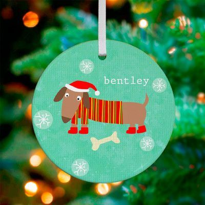 GreenBox Art Dressed Up Dachshund Personalized Ornament by Vicky Barone