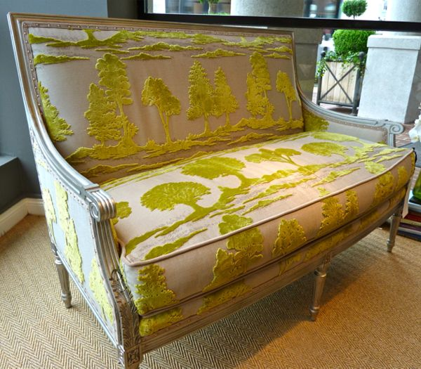 chartreuse gaufrage velvet sofa from wesley hall
