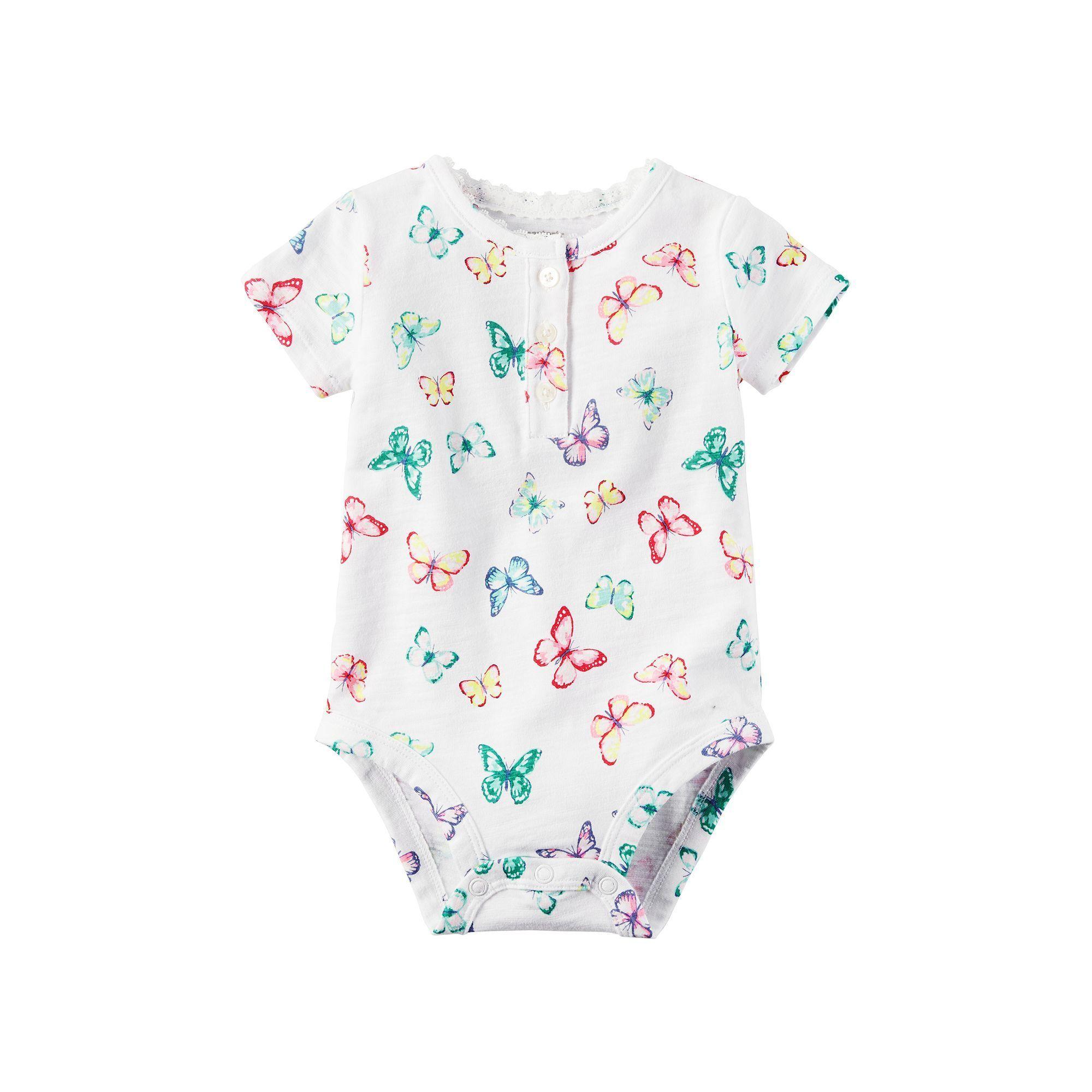 Baby Girl Carter s Butterfly Slubbed Henley Bodysuit Size 24