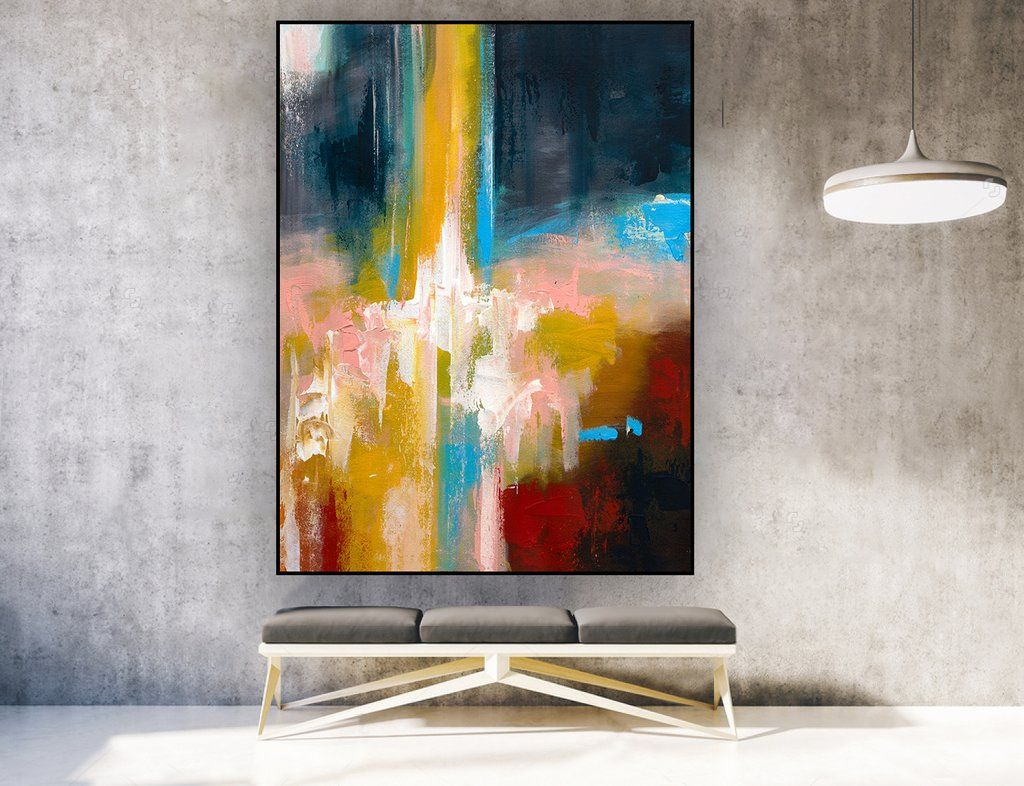 Badezimmer Gemälde Original Abstract Painting On Canvas Vertical La0117d Deko