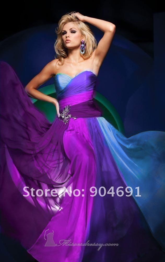 Custom Strapless Evening Dress Purple Blue Multi 4 Colors Chiffon ...