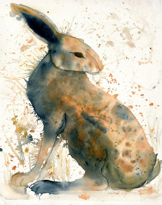 "Ware Rabbit 11 x 15"" watercolor and ink on paper by Leah McCloskey"