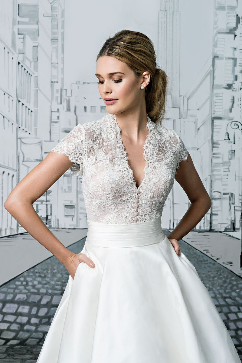ab131ab1385b Justin Alexander - Style 8881  Lace Bodice with Short Sleeves and Silk Tea  Length Ball Gown Skirt