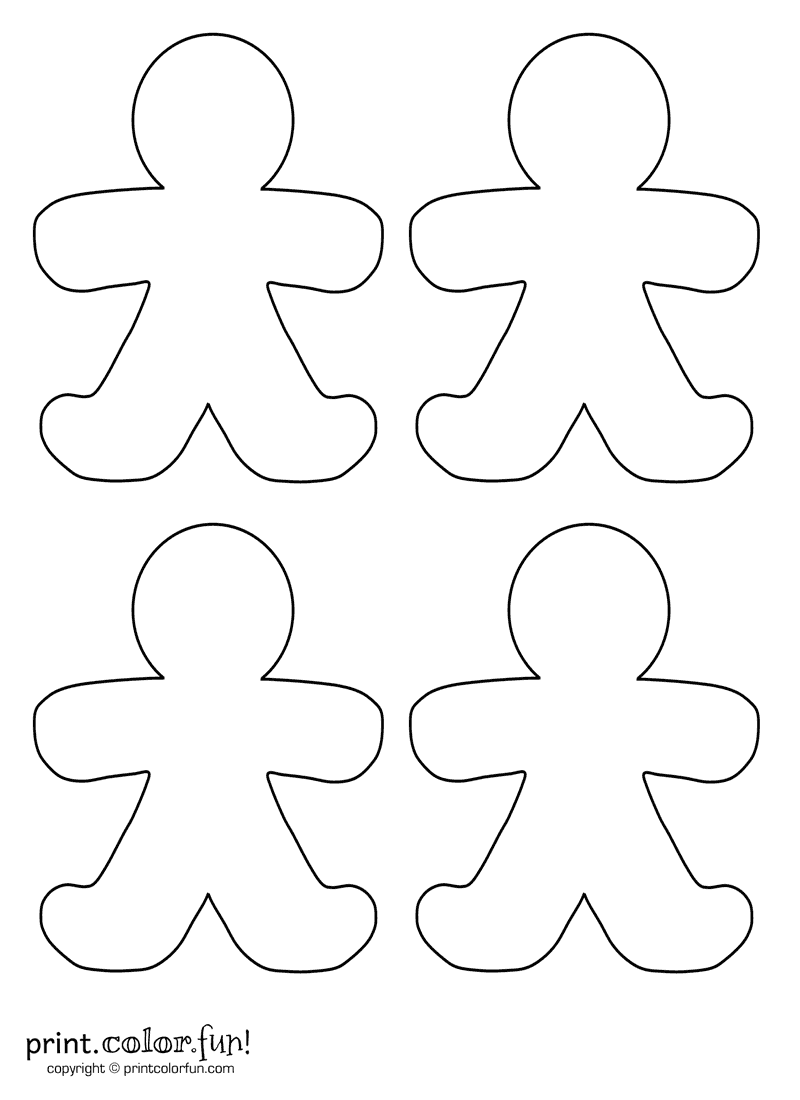 Four blank gingerbread men | Print. Color. Fun! Free printables ...