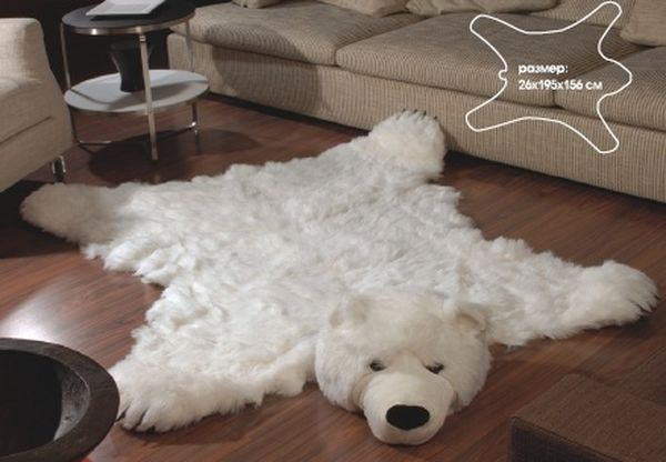Fake Fur White Polar Bear Skin A Mat Of Artificial