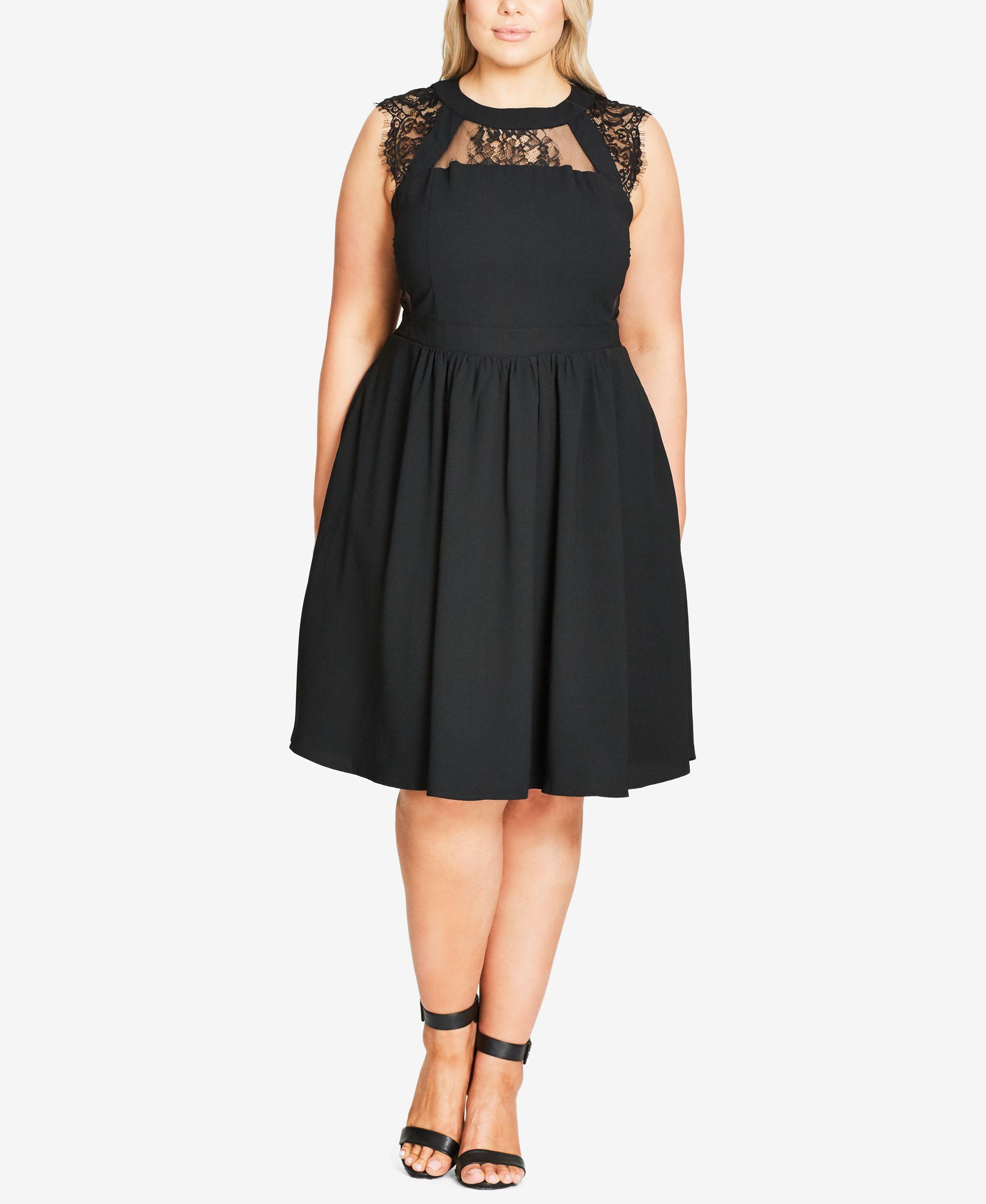 City Chic Trendy Plus Size Fine Lace Fit & Flare Dress ...
