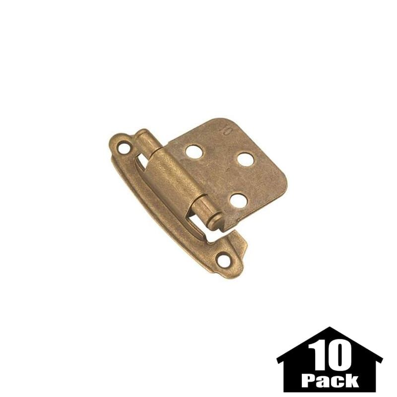 Hickory Hardware P244-10PACK Steel Flush Hinge from the Surface Self-Closing Col Windover Antique Cabinet Hinges Overlay Hinges Traditional Hinges
