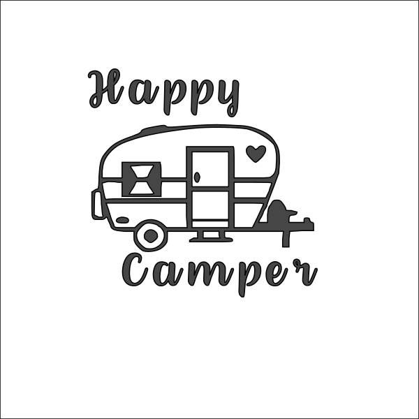 Happy Camper Decal Travel Trailer Wall Window Bumper Sticker