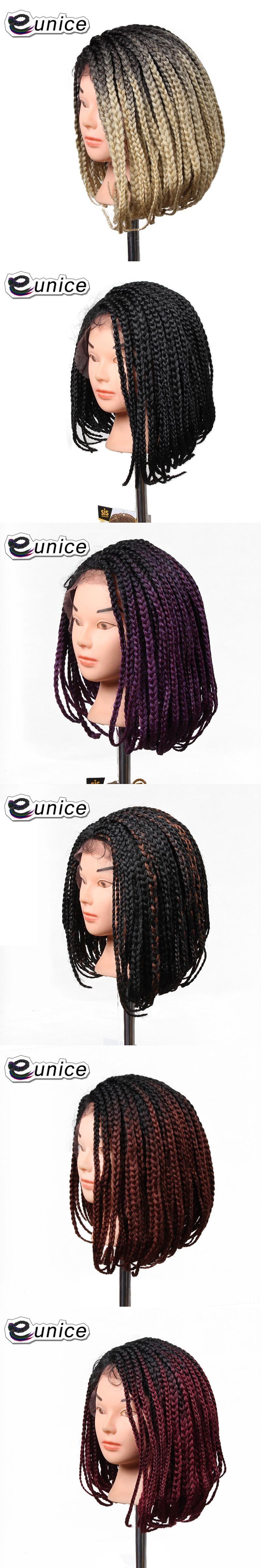 "Fashion 1PC Ombre Synthetic Wig Black BUG Purple 613 14"" Short Bob"