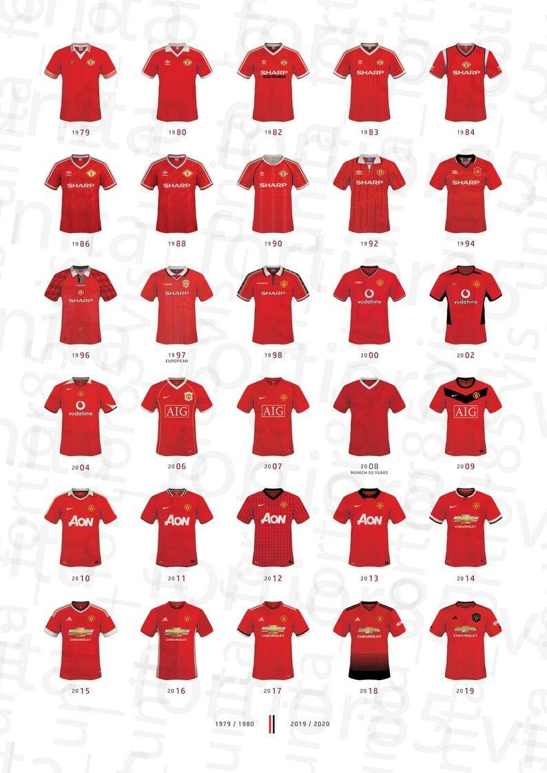 Manchester United Football Shirt History Artwork