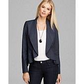 Lafayette 148 New York Ruffle Hem Leather Jacket