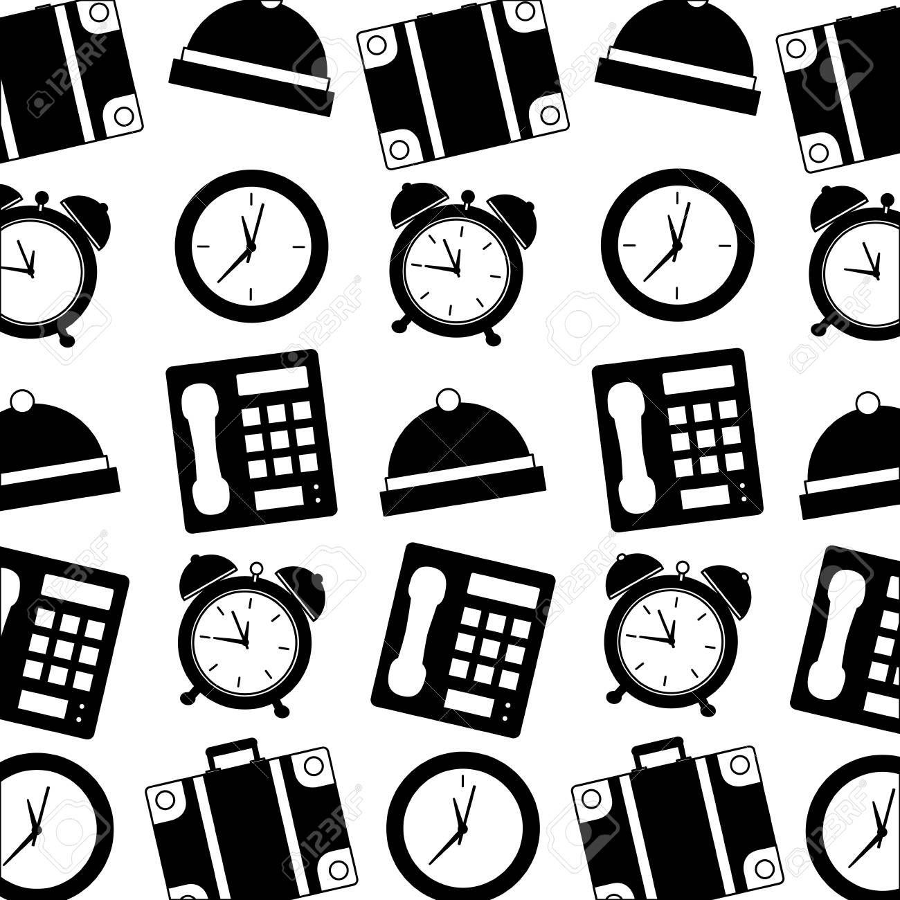 hotel telephone bell alarm clock suitcase pattern vector
