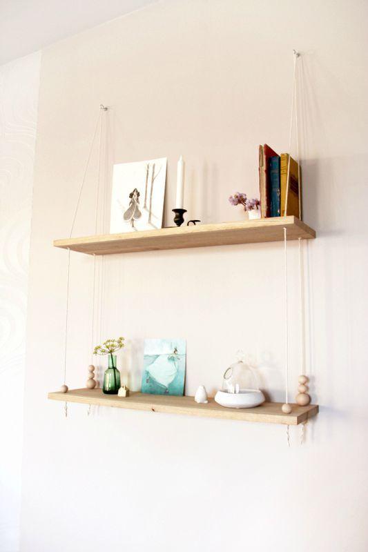 une tag re suspendue par de la corde par le blog t te d. Black Bedroom Furniture Sets. Home Design Ideas