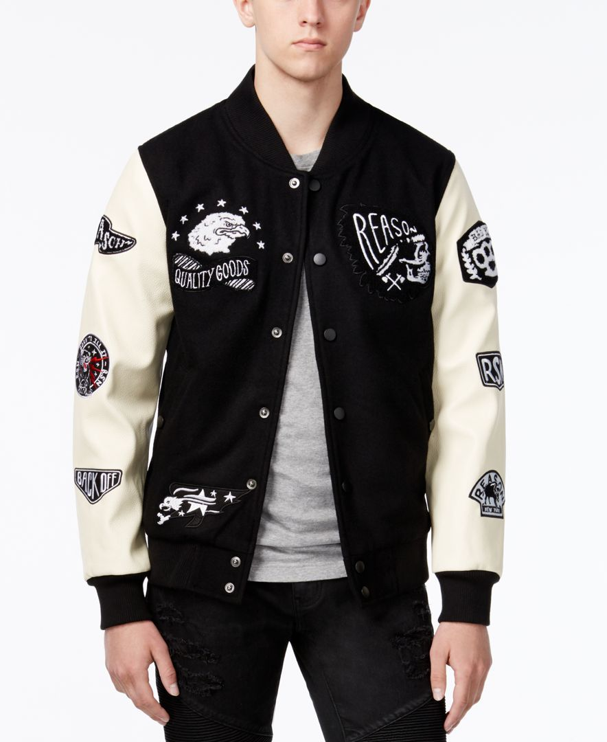 Reason Men's Varsity Bomber Jacket with Patches | Shops, Bomber ...