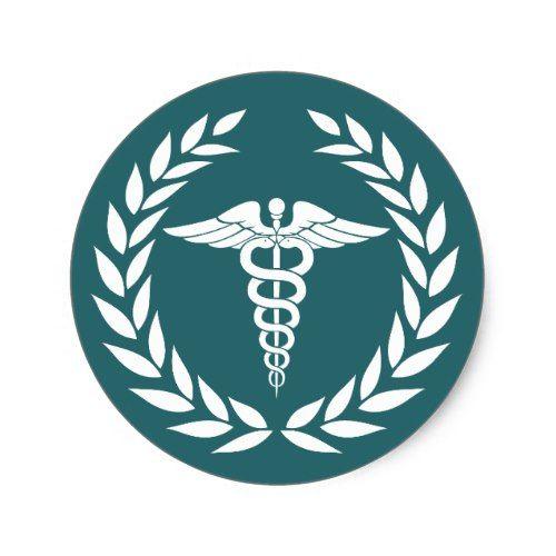 Medical Nursing Caduceus Symbol Teal Classic Round Sticker Doctor