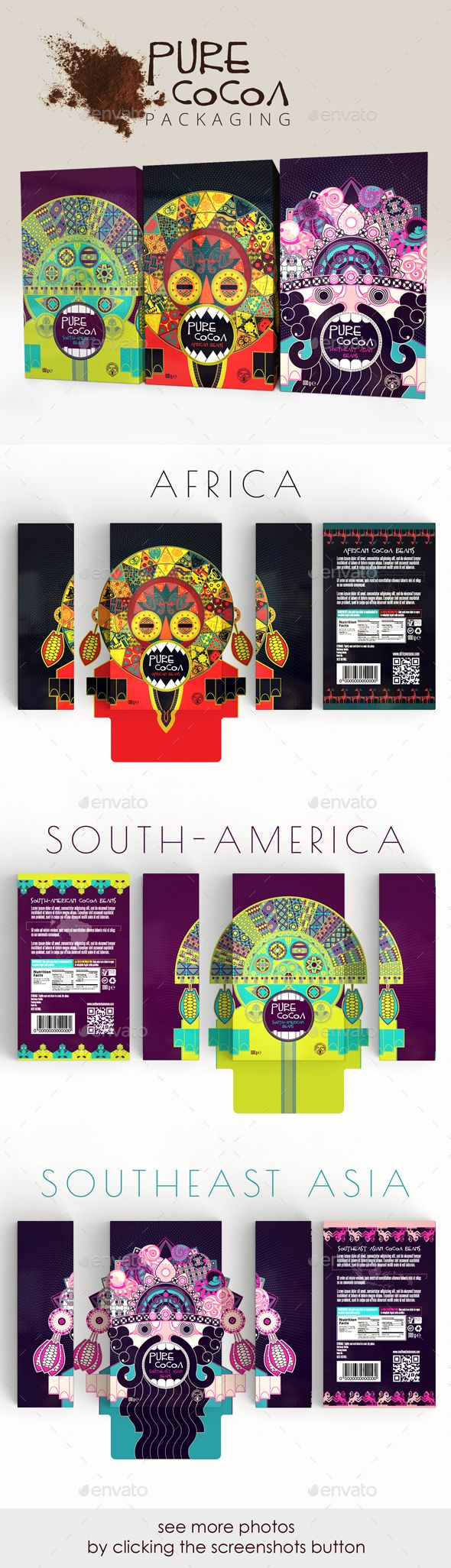 These designs are an homage to the traditional cultures of the main producing countries of cocoa beans. Elements of traditional clothing patterns, wood carvings, architectural signs & symbols were blended together and transposed into ritual, ceremonial or performance-art masks.  https://graphicriver.net/item/pure-cocoa-packaging/16194608