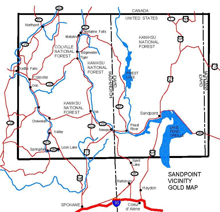 WASHINGTON GOLD MAPS, GOLD PLACERS AND GOLD PANNING AND METAL