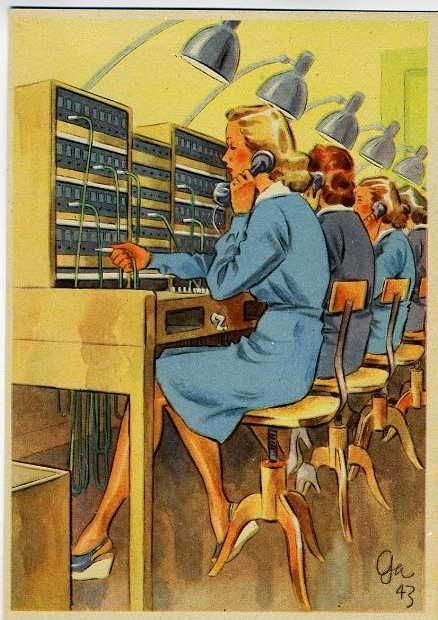 Illustrations showed us the ideal telephone operator the reality was probably much different