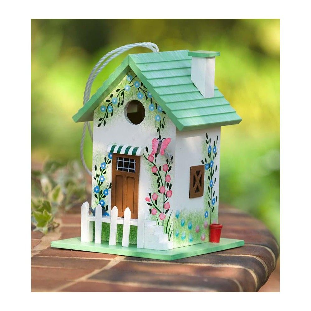 Colorful Cottage Birdhouse In Green Butterfly Plow Hearth Bird Houses Painted Bird House Kits Bird House