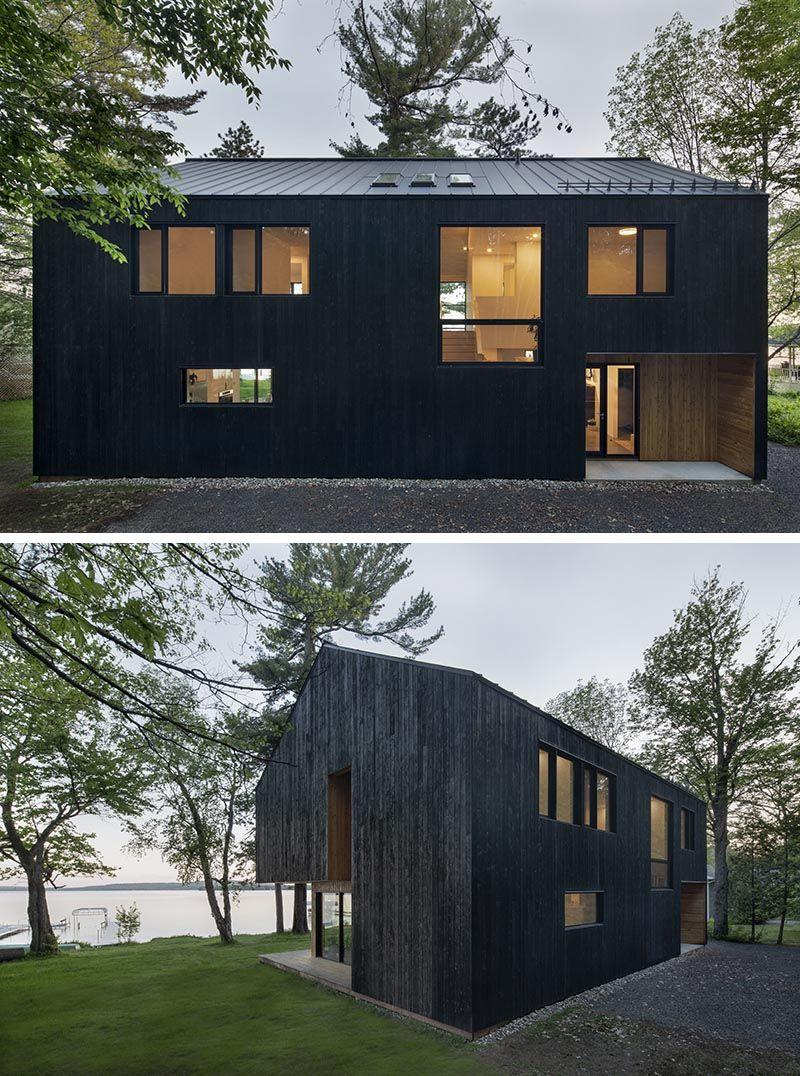 Black Charred Wood Siding Creates A Bold Look For This Lakeside Home In 2020 Charred Wood Siding Charred Wood Wood Siding