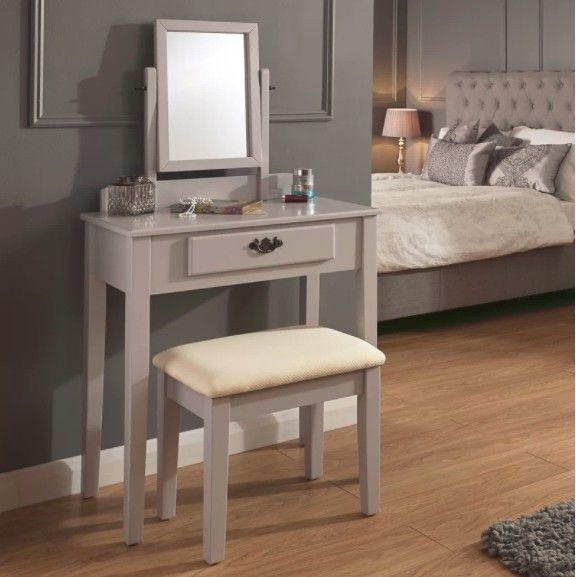 Bedroom Dressing Table Set Mirror Stool French Chic Grey Vanity ...