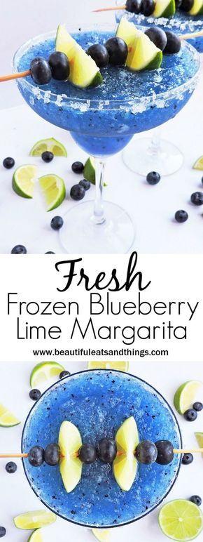 Fresh Frozen Blueberry Lime Margarita #frozenmargaritarecipes