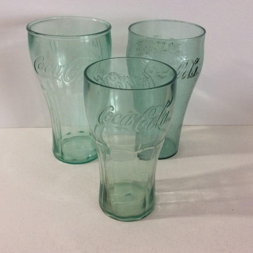 Lot 3 Coca Cola Plastic Cups Green 16 20 24 Ounce Soda Gles Clear Pebble Cocacola Designsbym Ebay