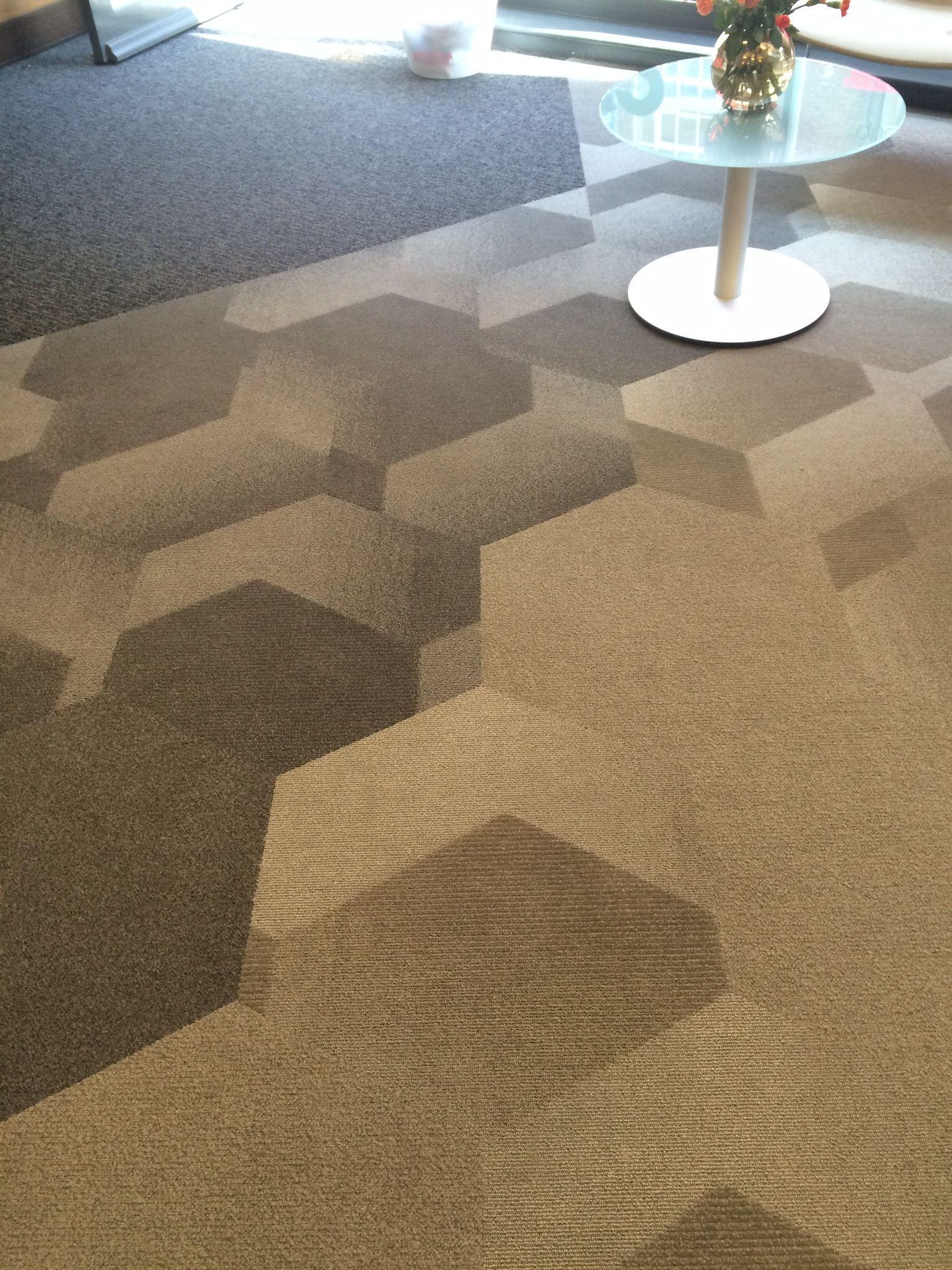 Bevel hexagon carpet tile installation. | Spotted ...