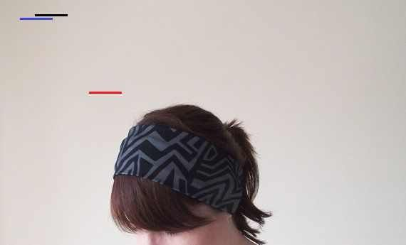 Geometric Wide Headband, Chevron Yoga Head Wrap, Black Zig Zag Workout Hairband, Jersey Fitness Head...
