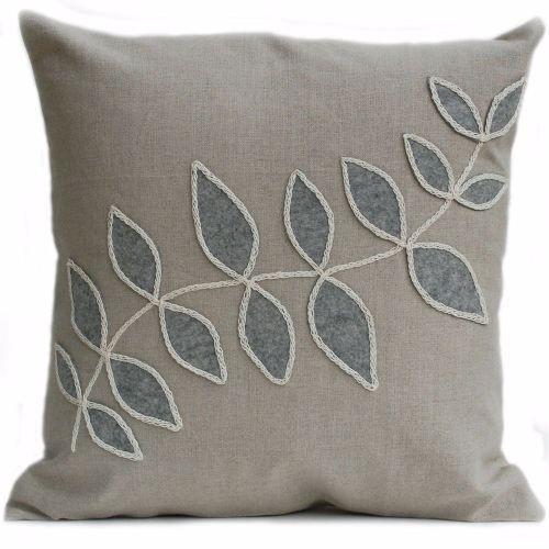 Linen Cushion With Grey Leaf Design Cushions Felt Cushion