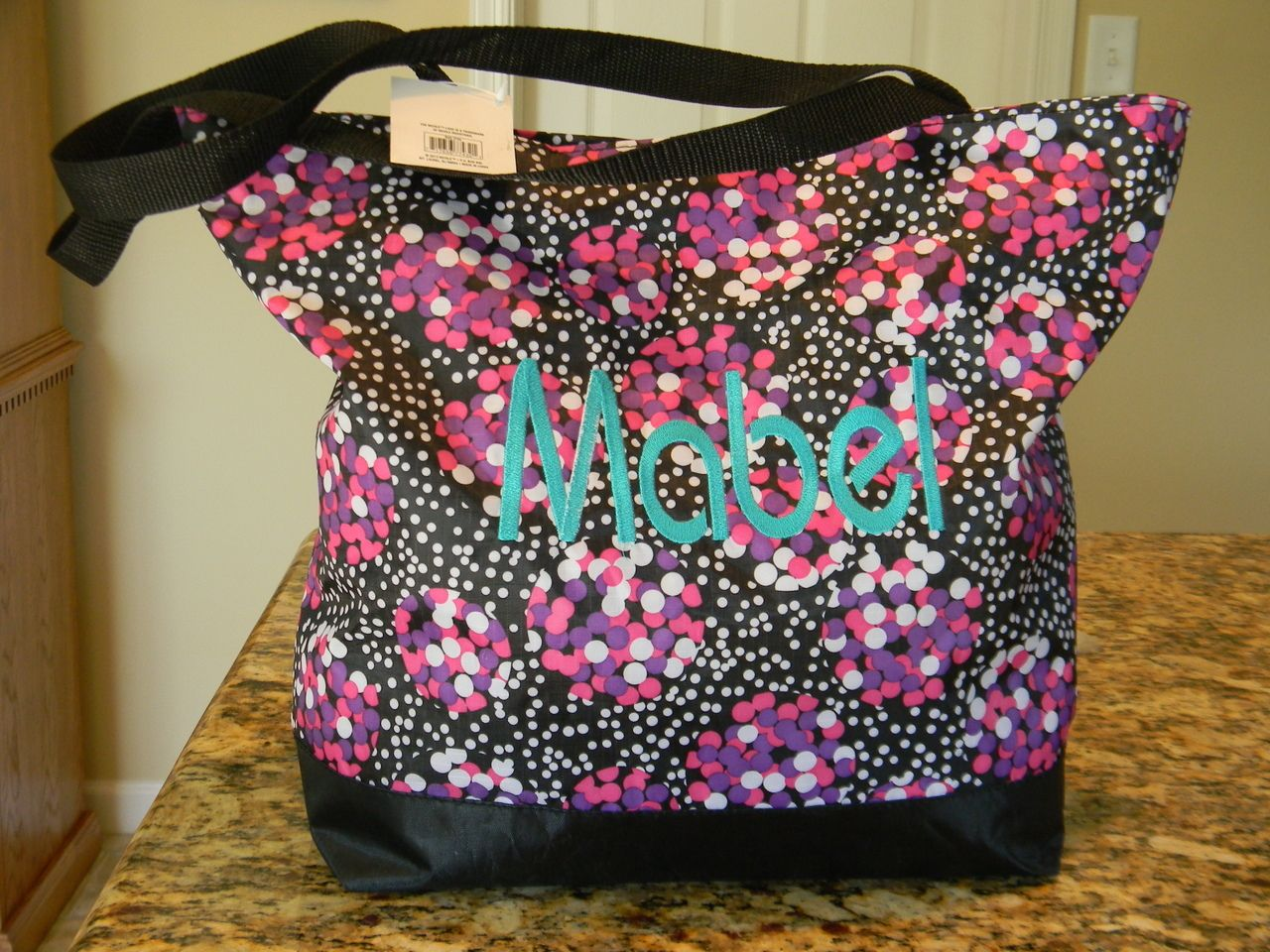 Irene Monogramming and Embroidery - Personalized Bauhaus font large vinyl tote  bag 5dc5ac286c244