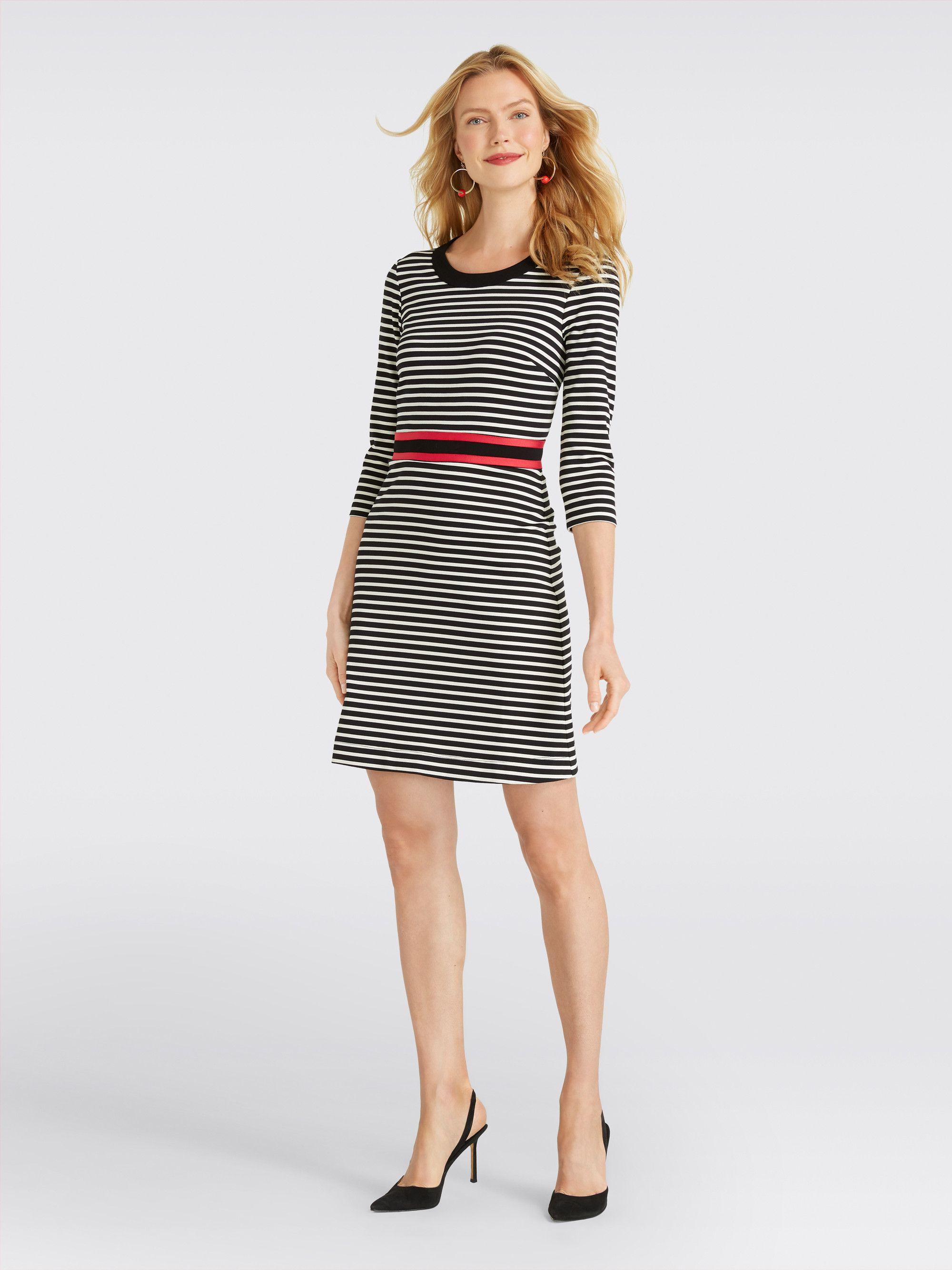 33e0318b19 Draper James - Long Sleeve Stripe Persley Ponte Dress