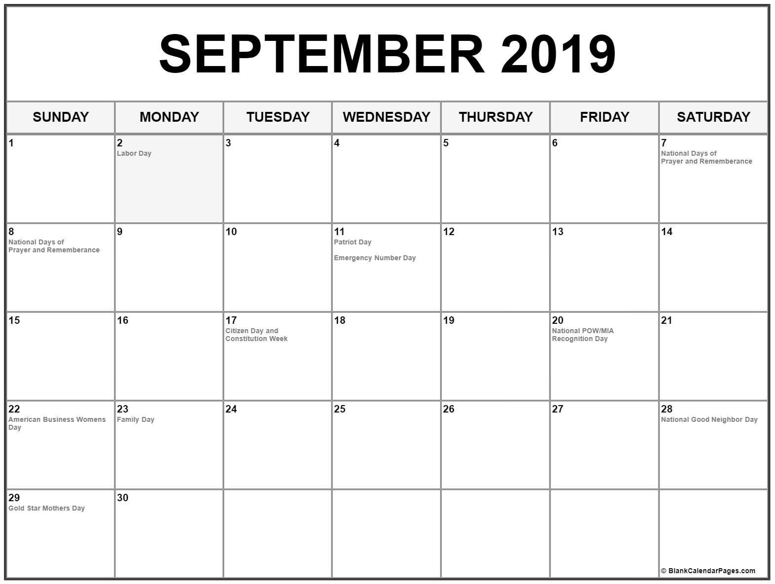 September 2019 Calendar With Holidays September 2019 Calendar With Holidays #september #september2019