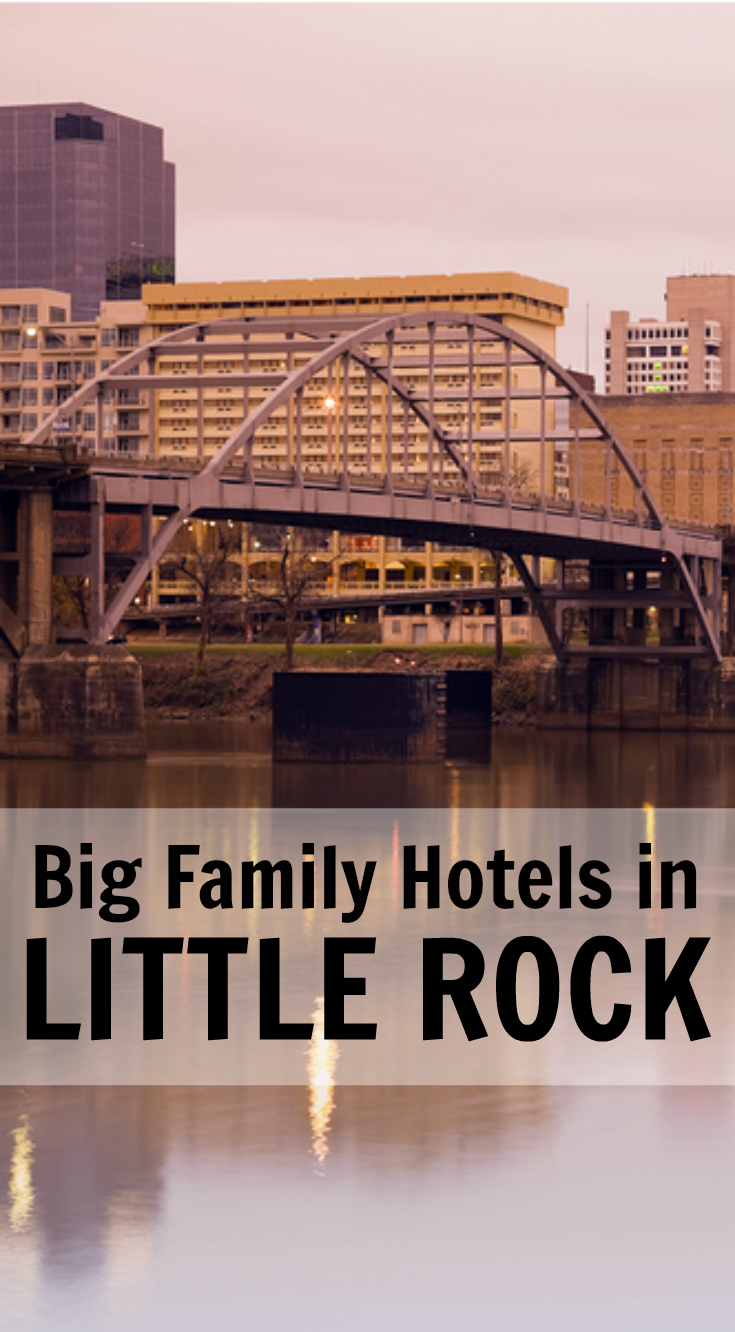 Easily find Little Rock hotels that sleep big families of 5, 6, 7, 8 in one room. Pin now for later!