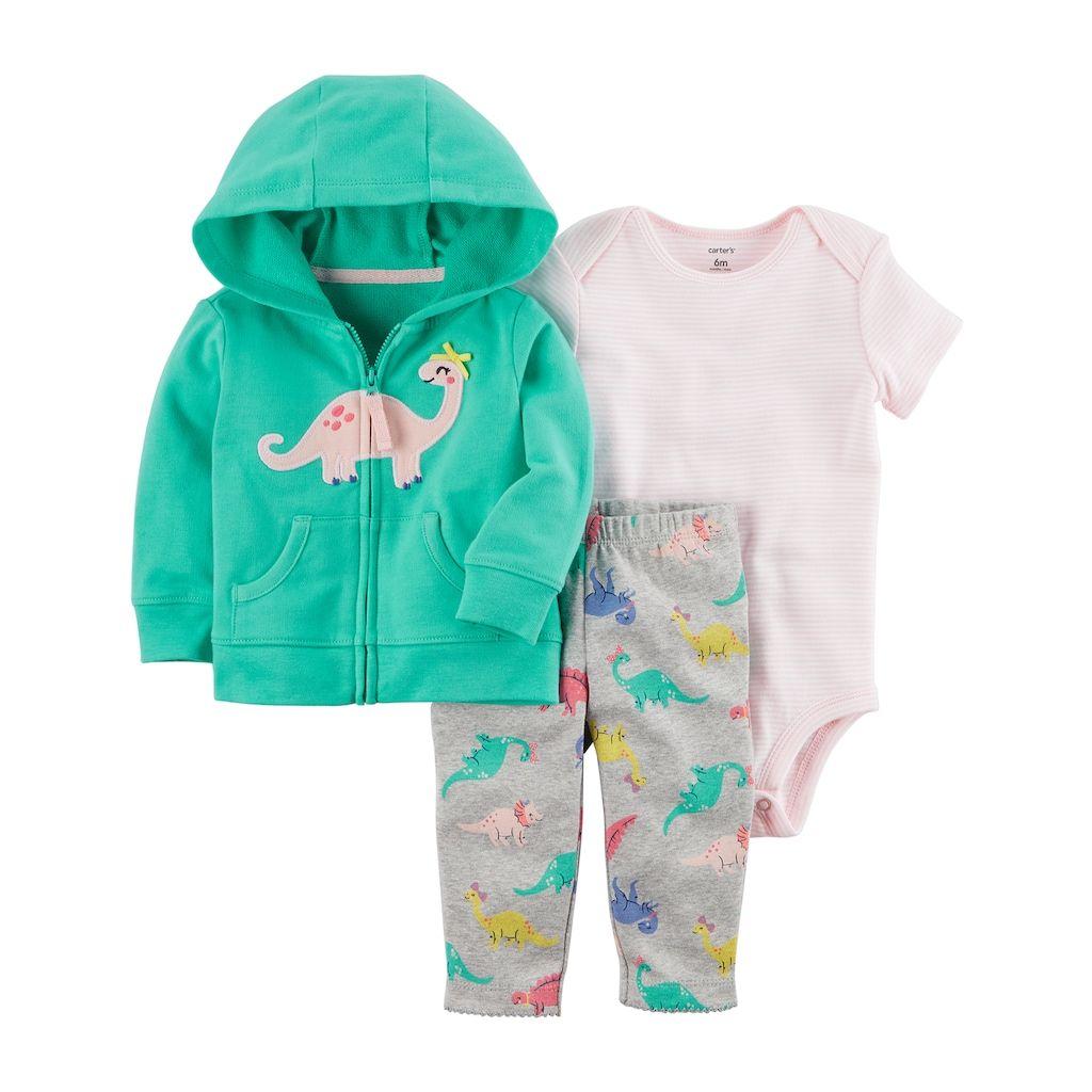 71479d49b2e7 Baby Girl Carter s Dinosaur Hooded Cardigan