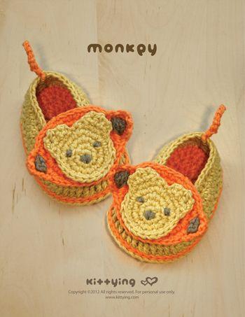 Monkey Baby Booties Crochet PATTERN | Kinderschuhe, Enkelinnen und ...