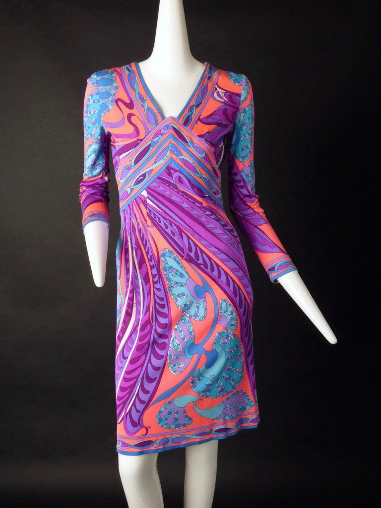 Awesome 1960s printed silk knit dress in a fluorescent coral, blue ...