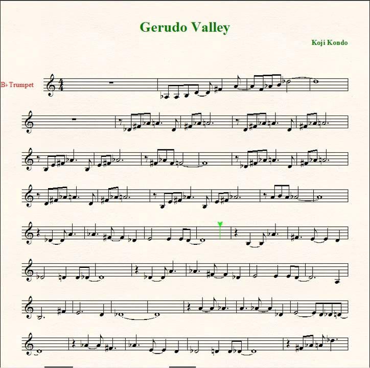 Gerudo Valley Trumpet Music Trumpet Sheet Music Sheet Music