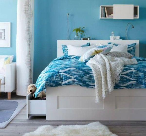 ikea schlafzimmer deisgn idee blaue wand | wandgestaltung, Schlafzimmer
