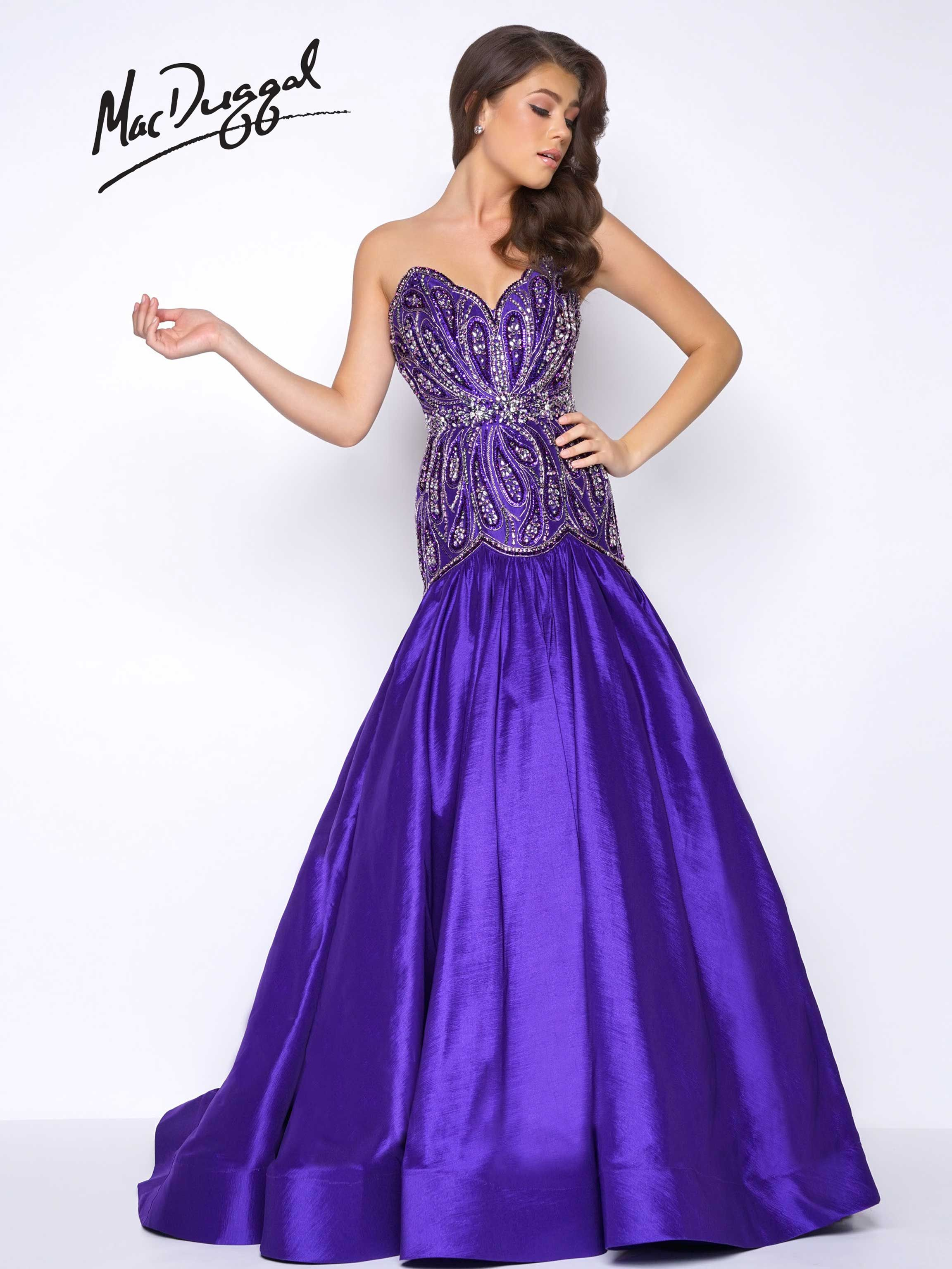 Sweetheart neckline, dropped waist, open back, satin prom dress with ...