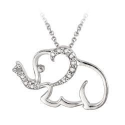 Sterling Silver Diamond Accent Elephant Necklace