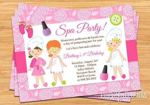 Invite friends to a spa party with this cute Kids Spa Party – Girls Spa Party Invitations